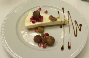 Cheesecake with confit chestnuts
