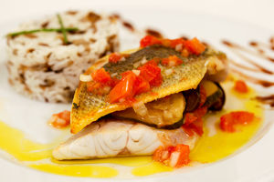 Sea bass with vegetables and wild rice